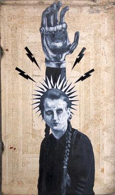 """""""In Fleisch gereift"""", Malerei, Collage auf Pergamenteinband, 37x22cm, 2014"""