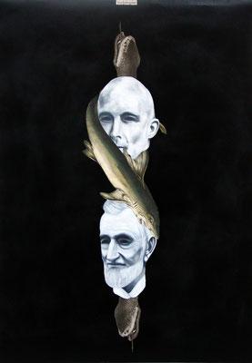 """"""" Bleierndes Verhängnis"""", Öl auf Leinwand, Kupferstich, Lithographie, Sprühlack auf Papier, 70x50cm, 2014"""