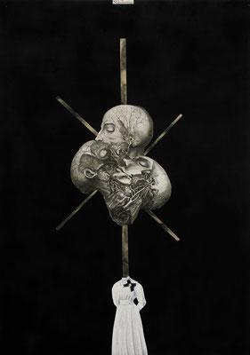 """""""Nihilismus will never die"""", Öl auf Leinwand, Kupferstich, Sprühlack auf Papier, 70x50cm, 2014"""
