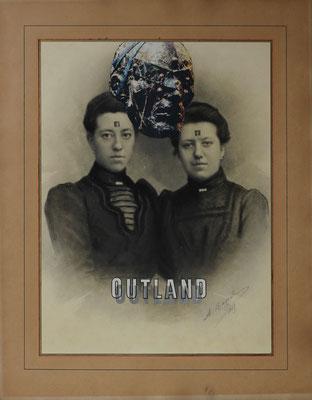 """""""Outland"""", Collage mit zwei Lsd Trips (ohne Wirkstoff) auf antiker Fotografie 62x46cm, 2019"""