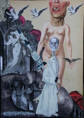 """""""Selbstentfremdung. Eine vielleicht substantielle Offenheit"""", Collage, Malerei, Sprühlack ca. 44,4x31,8cm, 2013"""
