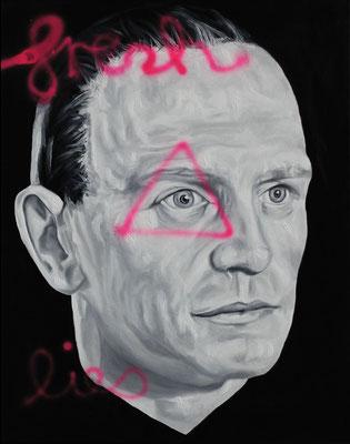 """Fresh lies"", Öl, Sprühfarbe auf Leinwand, 50x40cm, 2018"