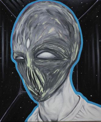 """Cold Universe"", Öl, Sprühfarbe auf Leinwand, 50x60cm, 2020"