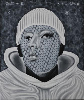 """""""Wipe Away"""", Öl, Acryl auf Leinwand, 50x60cm, 2020"""