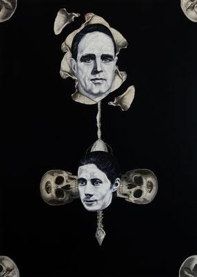 """""""Asymptote"""", Öl auf Leinwand, Stahlstich, Kupferstich, Sprühlack auf Papier, 70x50cm, 2015"""