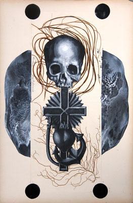 """Terror Management (Pimp your Pritsche)"", Malerei, Collage, 48x32cm, 2013"