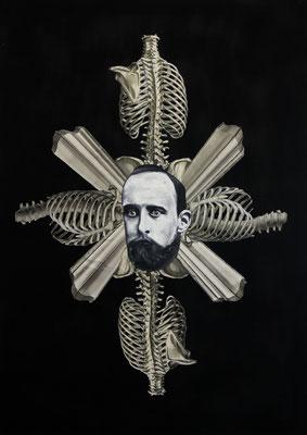 """""""Surrounded by Death"""", Öl auf Leinwand, Lithographie, Stahlstich, Sprühlack auf Papier, 70x50cm, 2015"""