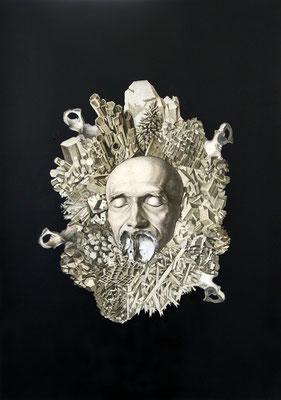 """""""Ungerichtetes Wuchern in die Leere gebannt"""", Kupferstich, Stahlstich, Sprühlack auf Papier, 70x50cm, 2015"""