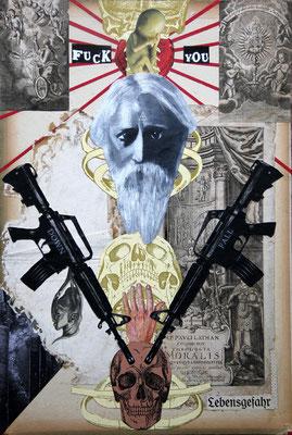 """Kalte Geilheit (Downfall moralis)"", Collage, Malerei, Sprühlack, 49x33cm, 2013"