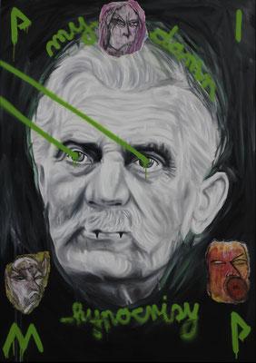 """Pimp my damn hypocrisy"", Öl, Sprühfarbe auf Leinwand, 140x100cm, 2019"