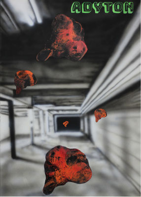 """Adyton"", Acryl und Öl auf Papier, 50x70cm, 2021"