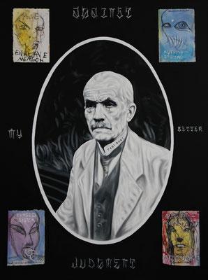 """Against my better judgment"", Öl, Sprühfarbe auf Leinwand, 160x120cm, 2019"