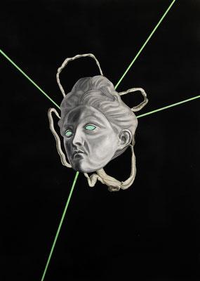 """""""Strahlende Holzwege"""", Öl auf Leinwand, Acryl, Kupferstich, Sprühlack auf Papier, 70x50cm, 2016"""