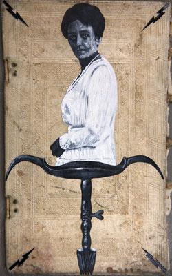 """""""Höhere Gewalt"""", Malerei, Collage auf Pergamenteinband, 37x22cm, 2014"""