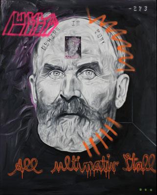"""""""Gehirn im Tank (you dont exist)"""", Öl, Sprühfarbe auf Leinwand, 150x120cm, 2019"""