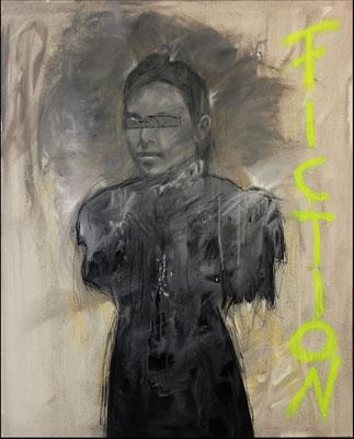 """Fiction"", Öl, Sprühfarbe auf Leinwand, 100x80cm, 2017"
