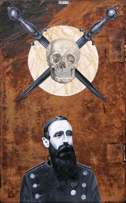 """""""Dark attraction"""", Malerei, Collage auf Ledereinband, 34x21cm, 2014"""