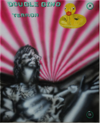 """Double Bind Terror"", Öl, Acryl auf Leinwand, 50x40cm, 2020"