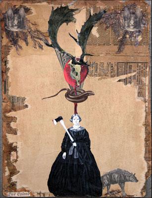 """""""Das Eyland"""", Collage, Malerei, Sprühlack, 50x38cm, 2013"""