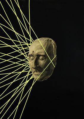 """""""Neongrab"""", Kohle, Öl und Sprühfarbe auf Papier, 70x50cm, 2017"""