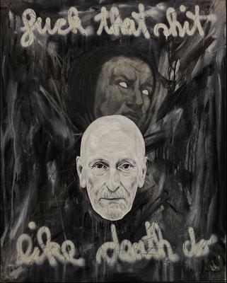 """Fuck that shit like death do"", Öl, Sprühfarbe auf Leinwand, 100x80cm, 2017"