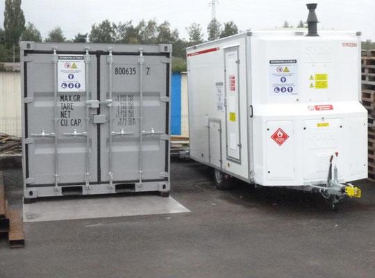 Sas mobile de décontamination du personnel et bungalow de stockage du matériel amianté
