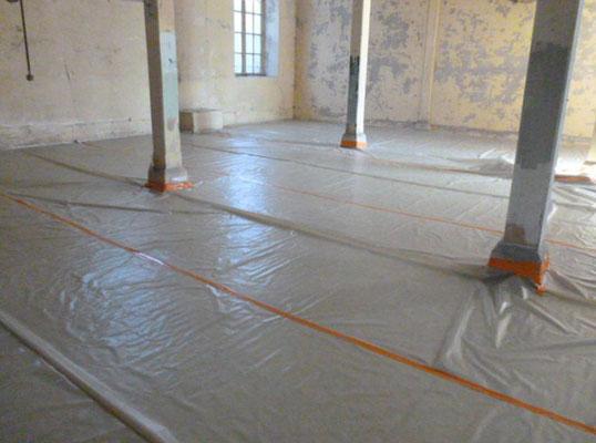 LogiEst, désamiantage en intérieur de niveau 1 de faux plafonds en amiante-ciment à l'ancienne manufacture de tabac de Metz