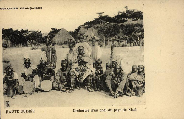 A local chief's orchestra in eastern Guinea, with jembe, tama, flute and bolon