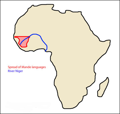 The Mande languages and river Niger in Africa (Map: RP)