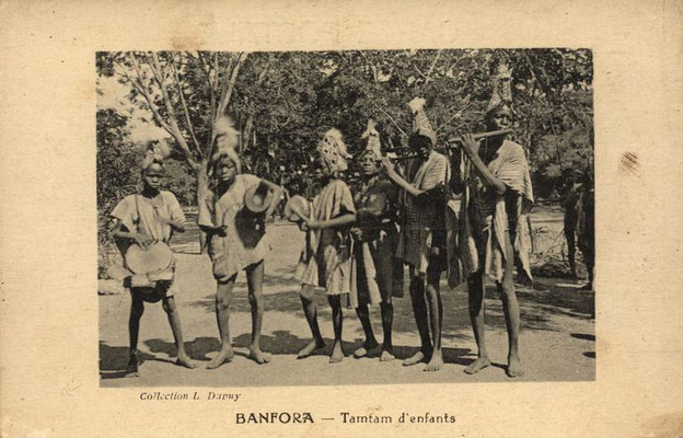 Youth musicians in Banfora (eastern Burkina Faso), with jembe, tama, and flutes