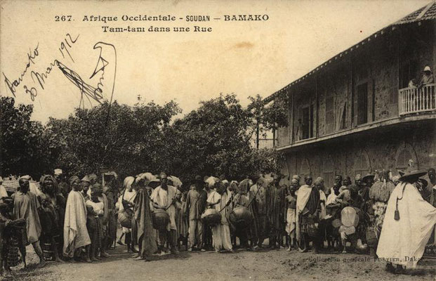 Jembe drummer with other instruments (probably bolon) in Bamako, ca. 1912