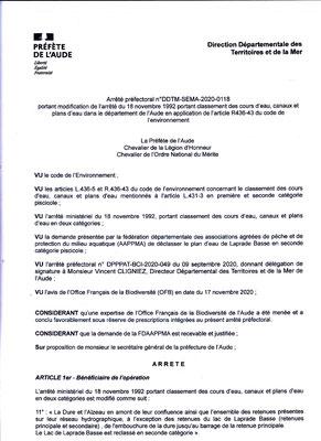 Arrêté préfectoral  n°DDTM-SEMA - 2020 - 0118