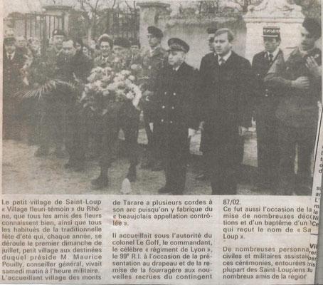 A d. du COL LE GOFF, Monsieur POUILLY, maire de Saint-Loup, à sa g., le sous-préfet et Monsieur MAYOUD, député du Rhône
