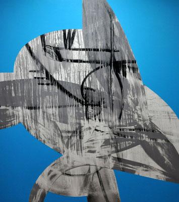Greifend in den mondschweren Saft  die Hände der Kinder spüren,  lassen für den Flügel die Nachgeburt wachsen  2006, 160 x 140 cm,  acrylic on canvas