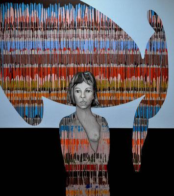 Wer auf die Sonnenzunge trägt das Gesicht des Erhofften, dem sei es gelöscht in Frieden  2008, 140 x 160 cm,  acrylic on canvas