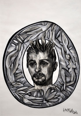 Portrait MÖ  2013, 50 x 70 cm, charcoal, Siberian chalk, wax oil crayon, acrylic