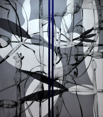 Das Sternestreuen weitläufig treiben,  den Gartensaft verschwenden  in dreiknospiger Fahrt  2007, 140 x 160 cm,  acrylic on canvas
