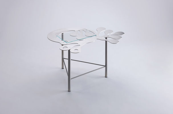 Floreszens  01   Tea table in stainless steel