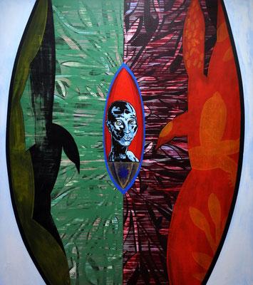 Leiten den Stern im Wütenden, weiten das Tor, die Pfiffe lagern in Wassern   2009, 140 x 160 cm,  acrylic on canvas