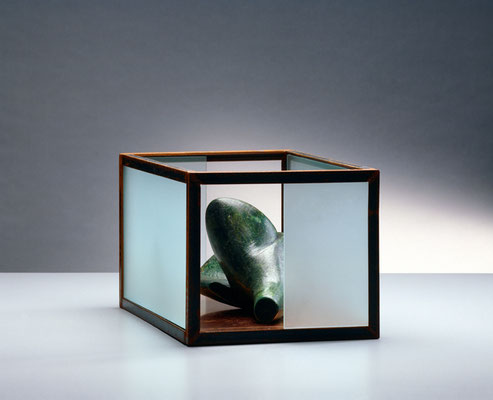 Modul 5  das den Wal beschützt  – which guards the whale     2008, 26 x 38 x 21 cm,  iron, wax, glass     Build a house for the unborn.  Gather fruits for the unknown.  Welcome war in the bowels of peace.     model for sculpture 1:10
