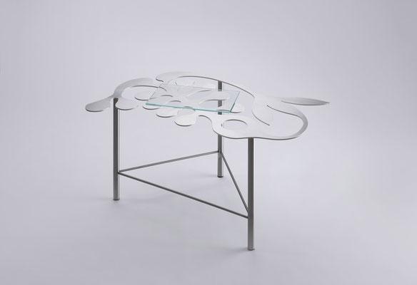 Floreszens  03   Tea table in stainless steel