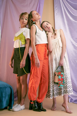 JEN MM DSGN Knit crop top(middle) and high-waist denim skirt(left) | Models: Pauline Cherrier, Peony Ho, Carolina Savciuc