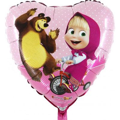 Masha auf Velo und Bär (Helium)