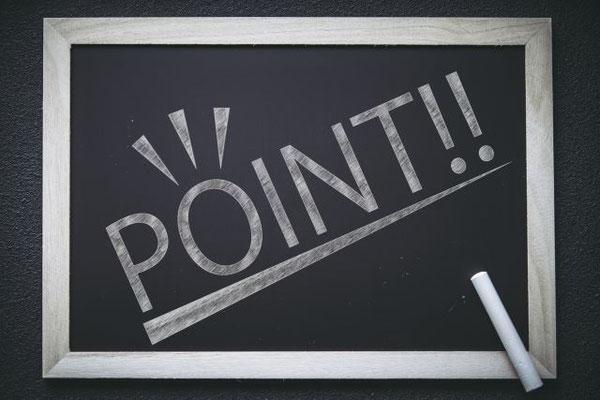 黒板に書かれたpointの文字