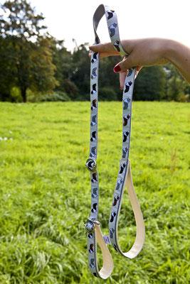 Borte: Sheltie/Collie ; Gurtband: 20 mm, grau ; Unterlegung: Kunstleder, beige