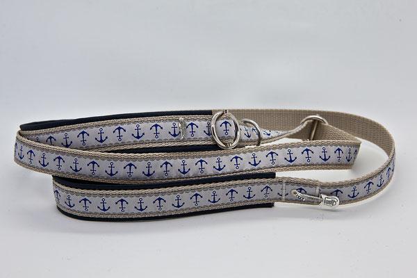 Borte: Ankerliebe ; Gurtabadn: 20 mm beige ; Unterlegung: Kunstleder, blau