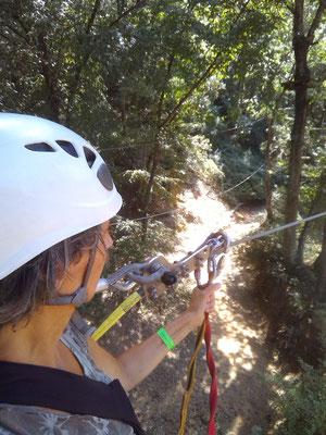 percorso acrobatico fra gli alberi. Riparbella, Italia.