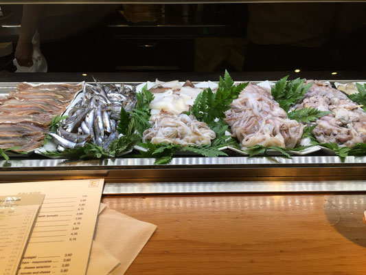 Raw seafood on display