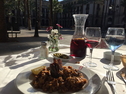 The Paella with the carafe of sangria overlooking the Plaza