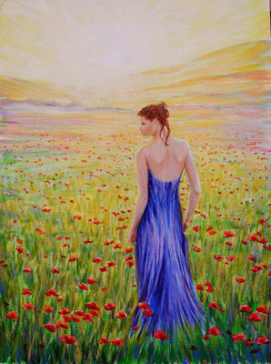 As poppy field. acrylic. 24x32cm. 5-2010.